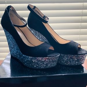 Boutique 9 Black Suede Wedge
